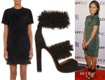 Jada Pinkett Smith's Proenza Schouler Suede Leather Shift Dress & Alaïa Fringed Suede Sandals