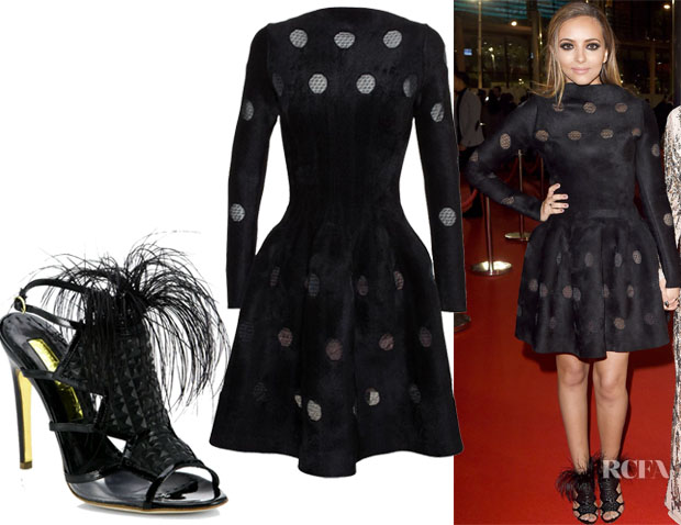 Jade Thirlwall's Azzedine Alaïa Stretch Velvet Jalousie Dress & Rupert Sanderson Wilson Feather Sandals