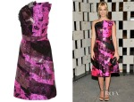 January Jones' Bottega Veneta Metallic Silk-Jacquard, Macramé Lace and Chiffon Dress