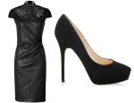Jennifer Lopez JITROIS Leather Balquis Sheath Dress