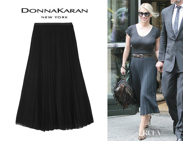 Jessica Simpson's Donna Karan Pleated Stretch-Silk Chiffon Midi Skirt