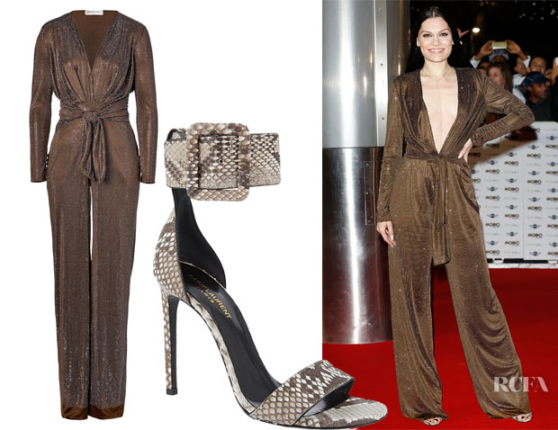 Jessie J's Emilio Pucci Studded Jumpsuit & Saint Laurent Jane Wide Cuff Sandals