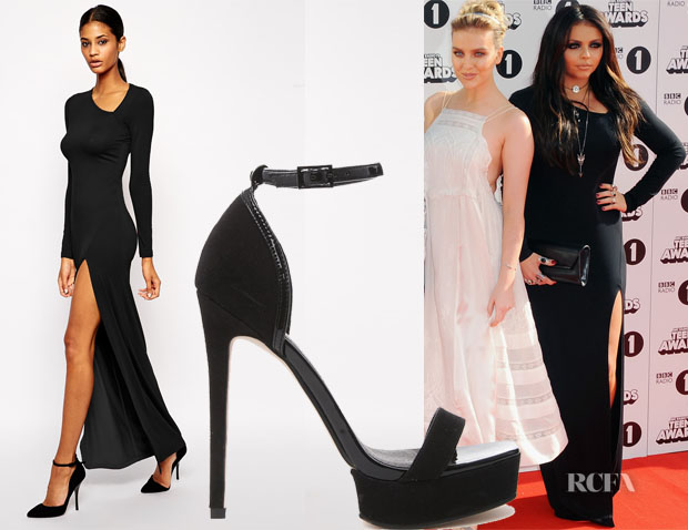 Jesy Nelson's ASOS Asymmetric Neck Sexy Maxi Dress & ASOS Heirloom Heeled Sandals