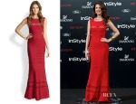 Juana Acosta's Herve Leger Lattice-Seam Bandage Mermaid Gown