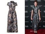 Judy Greer's RED Valentino Floral and Owl-Jacquard Dress