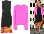 Julie Roberts' Bottega Veneta Flower-Embroidered Dress & Cashmere Cardigan
