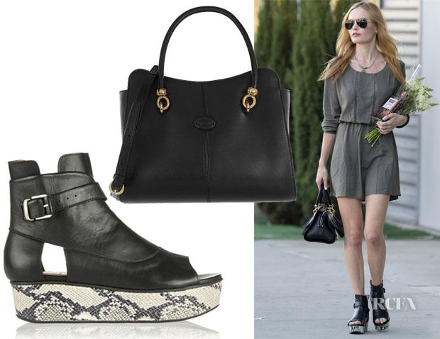 Kate Bosworth's Tod's Sella Tote & Thakoon Addition Snake-effect and Leather Platform Sandals