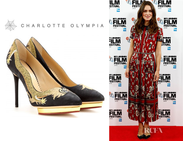 Keira Knightley S Charlotte Olympia Auspicious Debbie Embroidered Pumps Red Carpet Fashion