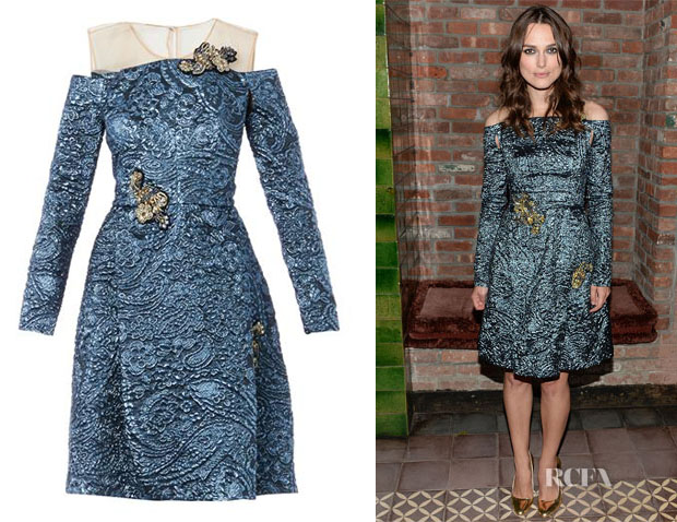 Keira Knightley's Erdem Leola Embellished Lurex-Jacquard Dress