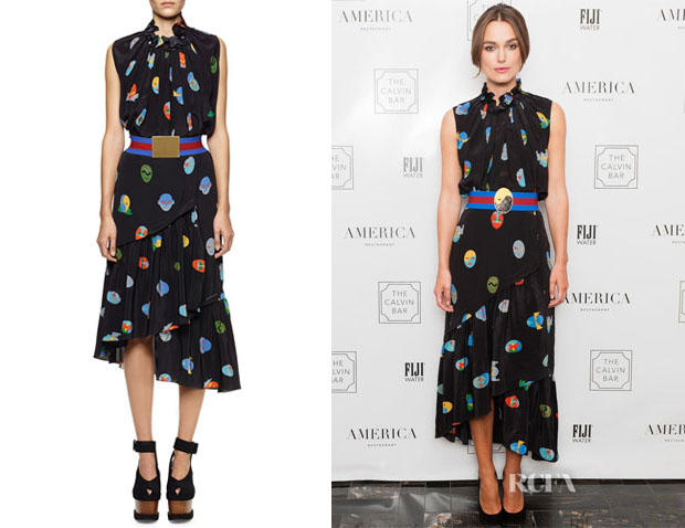 Keira Knightley's Stella McCartney Superhero-Print Pleated Silk Blouse, Skirt & Belt