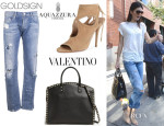 Kendall Jenner's Goldsign 'Mr. Right' Jeans, Valentino 'Rockstud' Tote and Aquazzura 'Sexy Thing' Cutout Sandals