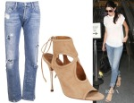 Kendall Jenner's Goldsign Mr. Right Oversized Tube Leg Jeans & Aquazzura Sexy Thing Metal Booties