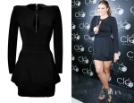 Khloe Kardashian's Balmain Black Keyhole Peplum Mini Dress