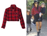Kourtney Kardashian's Nasty Gal After Party Vintage Red Alert Crop Flannel