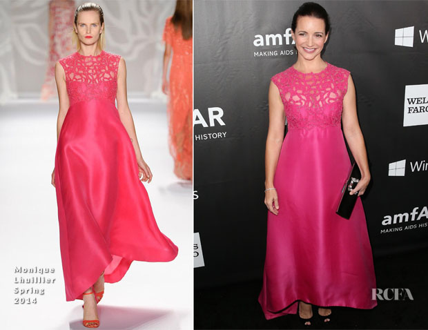 Kristin Davis In Monique Lhuillier - 2014 amfAR LA Inspiration Gala