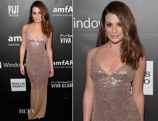 Lea Michele In Versace - amfAR LA Inspiration Gala