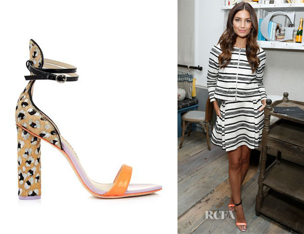 Lily Aldridge's Sophia Webster Nicole Printed Calf-Hair Sandals
