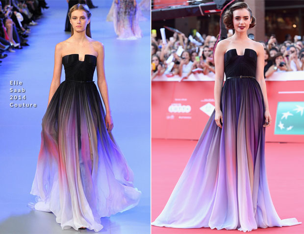 Lily Collins In Elie Saab Couture - 'Love, Rosie' Rome Film Festival Premiere