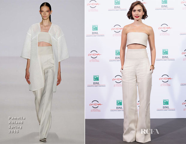 Lily Collins In Pamella Roland - 'Love, Rosie' Rome Film Festival Photocall