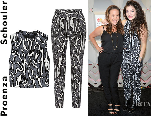 Lorde's Proenza Schouler Cropped Flocked Moiré-Jacquard Top And Proenza Schouler Flocked Moiré-Jacquard Tapered Pants