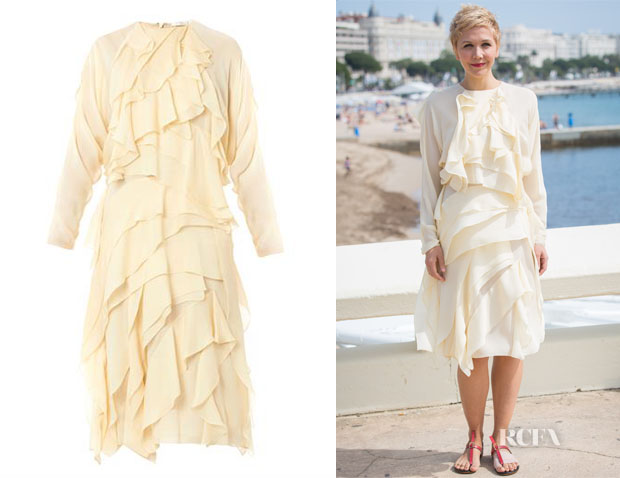 Maggie Gyllenhaal's Chloé Layered Silk-Georgette Dress