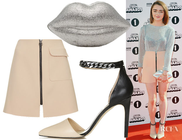 Maisie Williams' Topshop Patch Pocket A-Line Skirt, Topshop Geraniam Chain Pumps & Lulu Guinness Lips Clutch