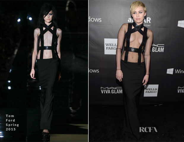 Miley Cyrus In Tom Ford - 2014 amfAR LA Inspiration Gala