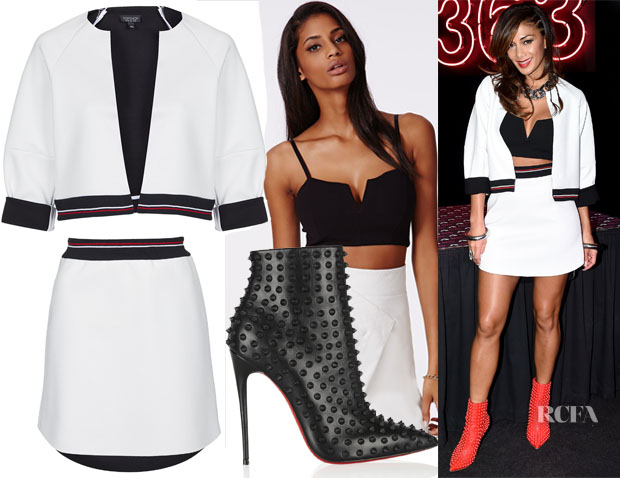 Nicole Scherzinger's Topshop Stripe Rib Crop Jacket, Topshop Rib Waist Scuba Skirt, Missguided Mercy Plunge Zip Back Bralet & Christian Louboutin Snakilta Spiked Leather Ankle Boots