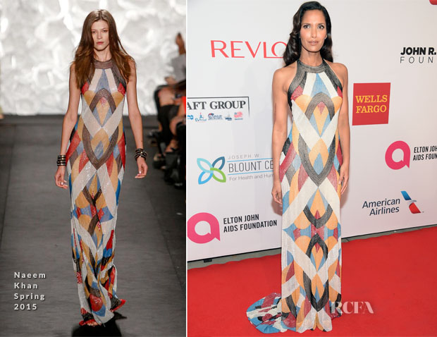 Padma Lakshmi In Naeem Khan - Elton John AIDS Foundation's 13th Annual An Enduring Vision Benefit