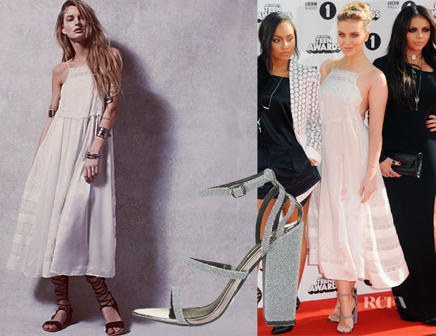Perrie Edwards' Free People Gemma Limited Edition White Dress & Topshop Rosalia Caviar Effect Sandals