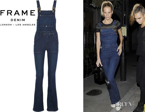 Poppy Delevingne's Frame Denim 'Le High Flare' Stretch-Denim Overalls