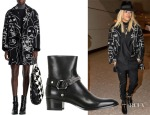 Rita Ora's Stella McCartney Frederica Squiggle Face Coat &  Saint Laurent 'Wyatt' Leather Chained Boots