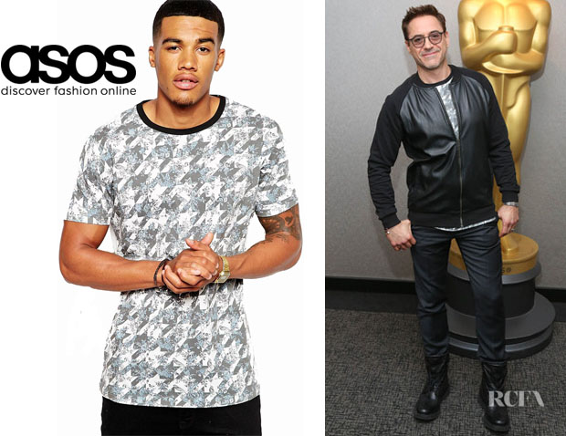 Robert Downey Jr's ASOS Longline T-Shirt with Floral Houndstooth Print