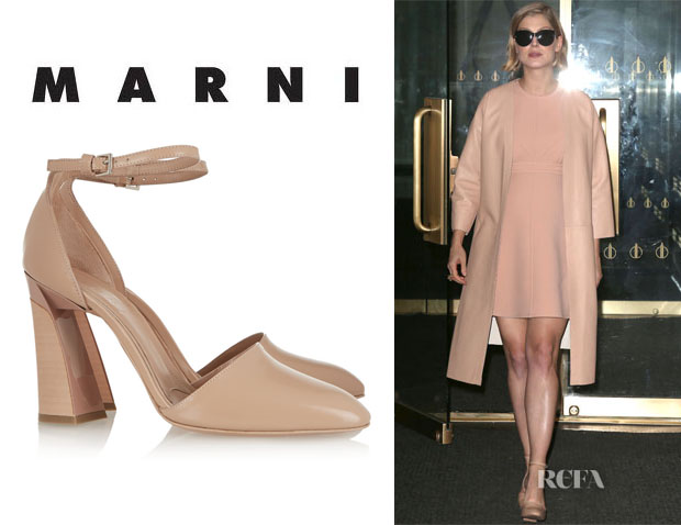 Rosamund Pike's Marni Glossed-Leather Pumps