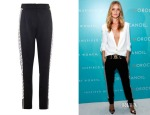 Rosie Huntington-Whiteley's Versus Versace Printed Wool-Crepe Trousers