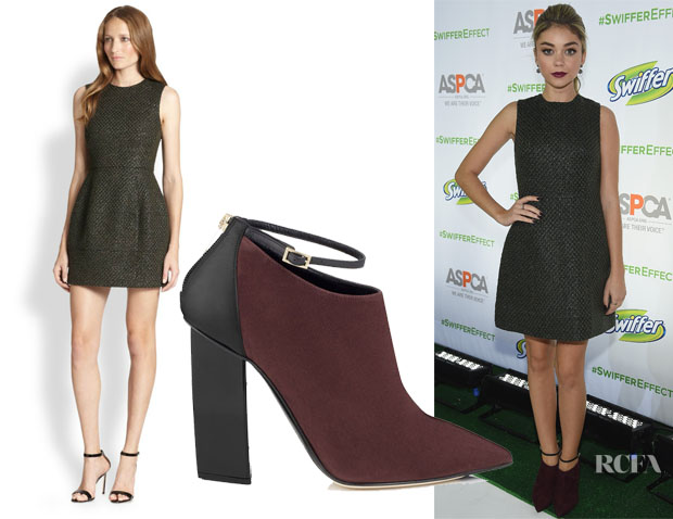 Sarah Hyland's Alice + Olivia Haven Metallic-Jacquard Bubble Dress & Jimmy Choo Mirto Suede and Black Calf Ankle Boots