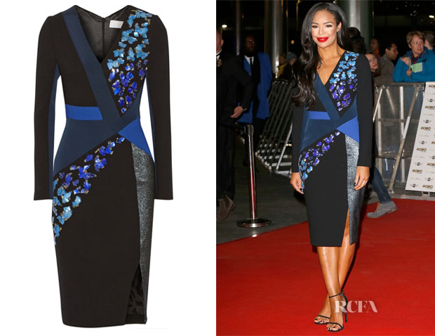 Sarah Jane Crawford's Peter Pilotto Aro Embellished Wool and Crepe Dress