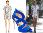 Taylor Swift's Warehouse Floral Top & Shorts & Steve Madden Immence Strappy Sandals