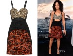 Tessa Thompson's Proenza Schouler Cut Out Flocked Faille Mini Dress