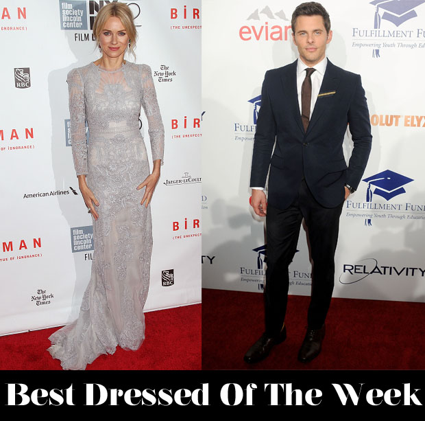 Best Dressed Of The Week - Naomi Watts In Gucci Première & James Marsden In Kent and Curwen