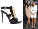 Adriana Lima's Giuseppe Zanotti Coline Metal and Suede Sandals