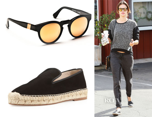 Alessandra Ambrosio's Westward Leaning Voyager Sunglasses & Elyse Walker Dee Suede Espadrille Loafers