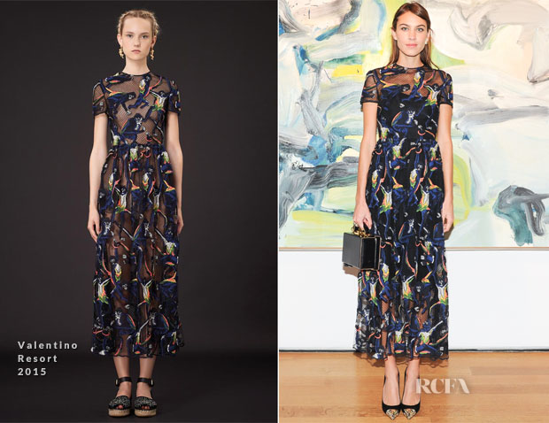 Alexa Chung In Valentino - Valentino Garavani's 'Valentino At the Emperor's Table' Book Launch Dinner Party