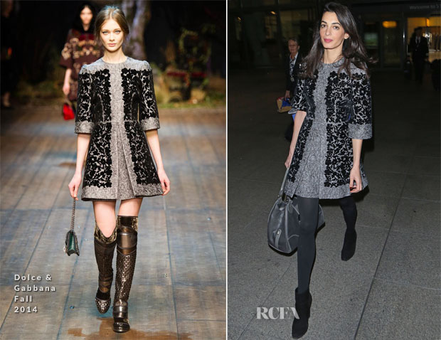 Amal Alamuddin Clooney In Dolce & Gabbana - London Heathrow
