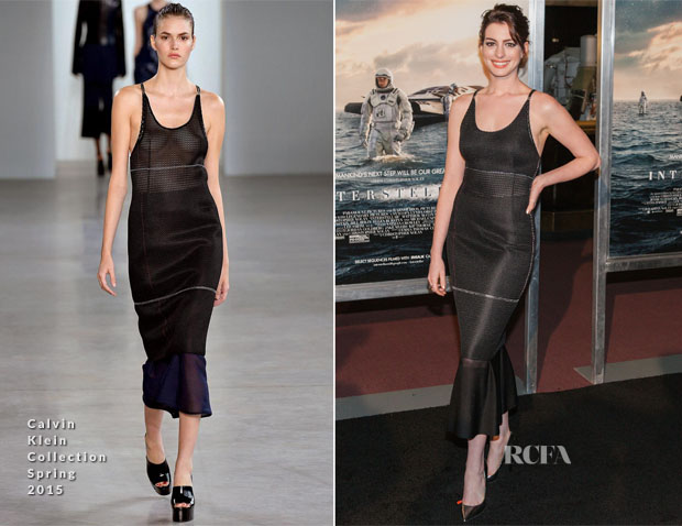 Anne Hathaway In Calvin Klein Collection - 'Interstellar' Washington Premiere