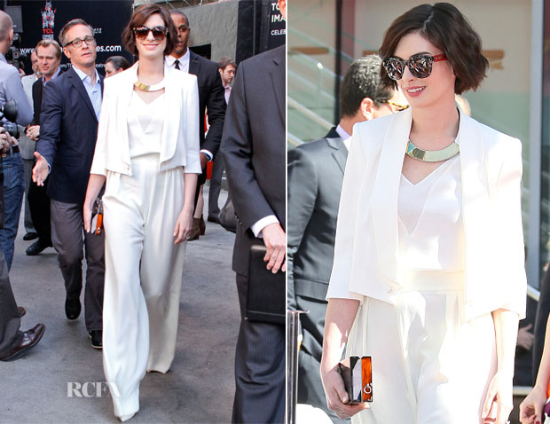Anne Hathaway In Max Mara - Hollywood Walk Of Fame Ceremony