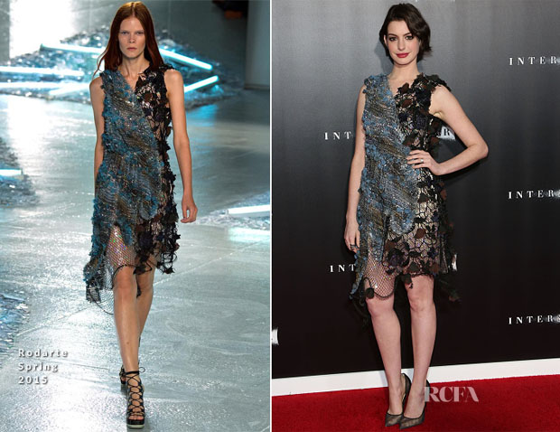 Anne Hathaway In Rodarte - 'Interstellar' New York Premiere