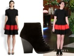 Anne Hathaway's Alexander McQueen Contrast-Stripe Jacquard Dress & Burberry Prorsum Virginia Suede Open Toe Ankle Boots