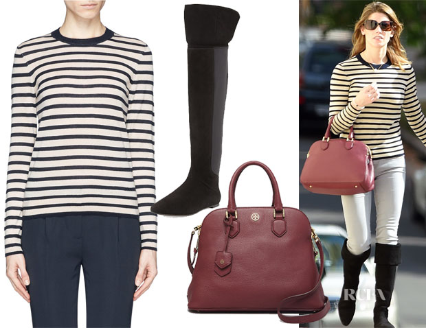 Ashley Greene's Tory Burch 'Iberia' Sweater, Kevin Suede Over-the-Knee Boot & Robinson Pebbled Open Dome Satchel