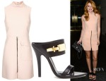 Bella Thorne's Topshop Premium High Neck Shift Dress & Versus clasp fasten sandals